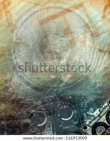 Grunge music background - stock photo