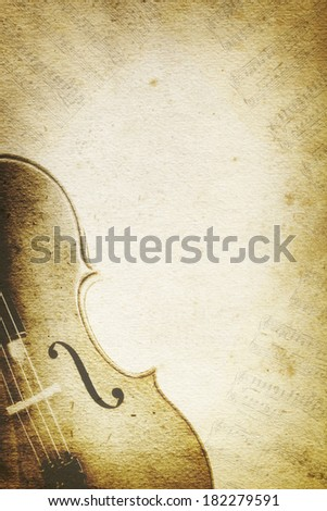 Grunge music background with cello and musical notes over paper textures. - stock photo