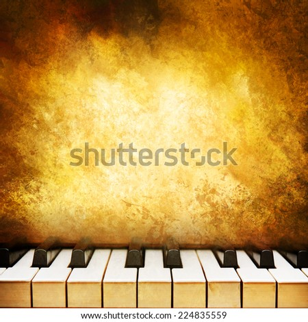 Grunge music background with piano keys.
