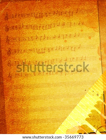 Grunge music piano background - stock photo