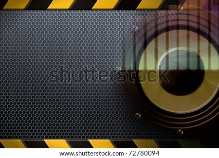 Grunge musical background, metal mesh with caution sign - stock photo