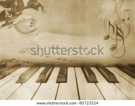 Grunge musical background - piano keys, sheet music and rose - vintage design in sepia tone - stock photo