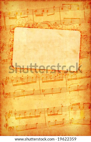 Grunge musical background with frame - stock photo