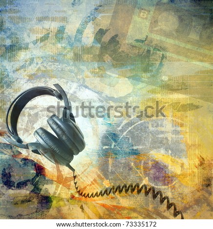 Grunge musical background with headphones - stock photo