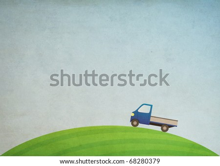 Grunge nature illustration with car - stock photo