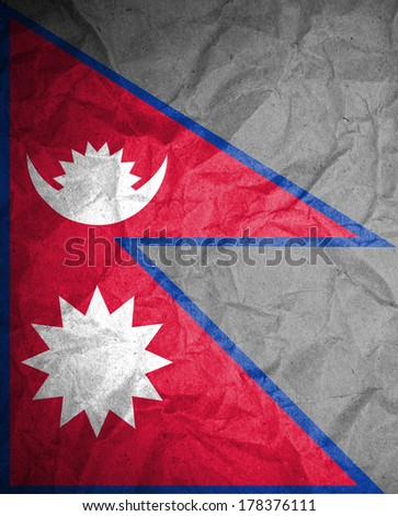 Grunge Nepal Flag on crumpled paper
