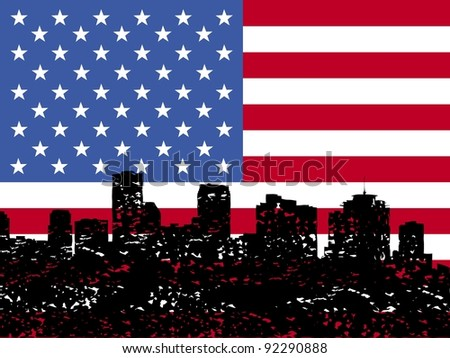 Grunge New Orleans skyline with American flag illustration - stock photo