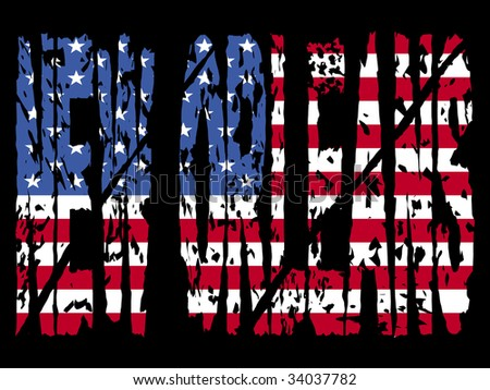 grunge New Orleans text with American flag illustration JPEG - stock photo