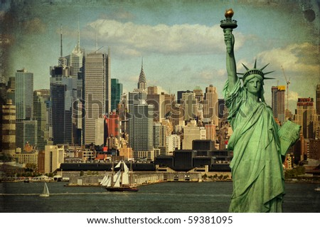 grunge new york city statue of liberty ciytscape skyline.  tourism concept with statue liberty over the hudson river with midtown new york city manhattan.