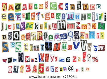 Grunge newspaper alphabet with letters, numbers and symbols. Isolated on white - stock photo