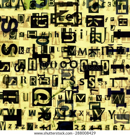 Grunge newspaper, magazine collage letters background. - stock photo