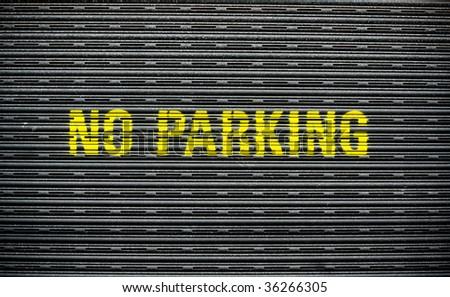 Grunge No Parking Garage - stock photo