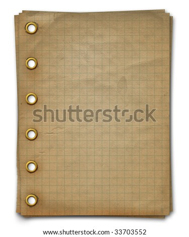 Grunge notebook. A writing-book in a section with golden clip - stock photo