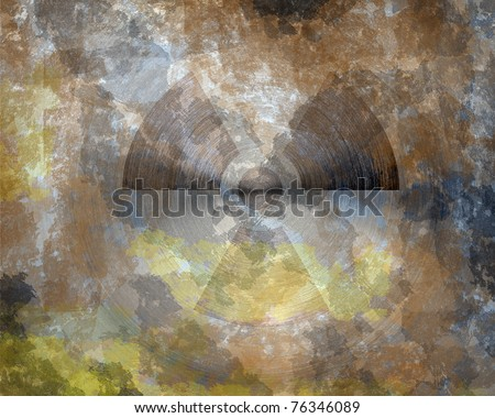 grunge nuclear sign on metal texture background - stock photo