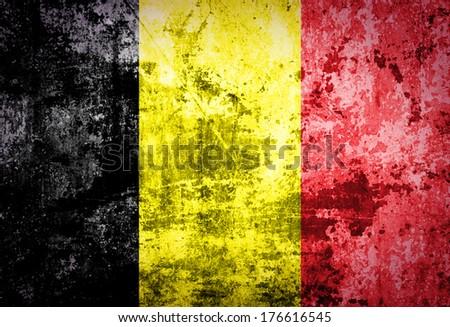 Grunge of belgium flag  - stock photo