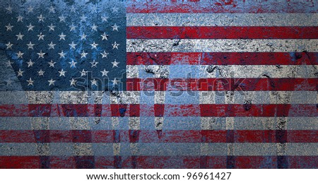 grunge old pale bevel and emboss United States of America flag on grunge concrete wall background mixed from photographs and created by computer graphic - stock photo