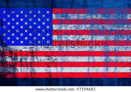 grunge old pale bevel and emboss United States of America flag on grunge cray wall background created by computer graphic - stock photo