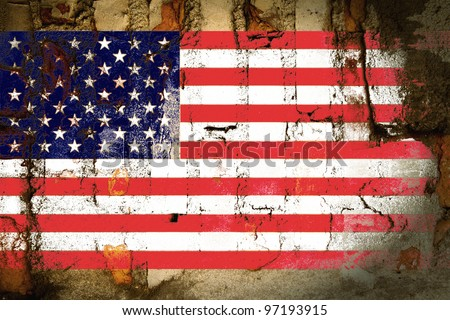 grunge old pale bevel and emboss United States of America flag on grunge wall background created by computer graphic - stock photo