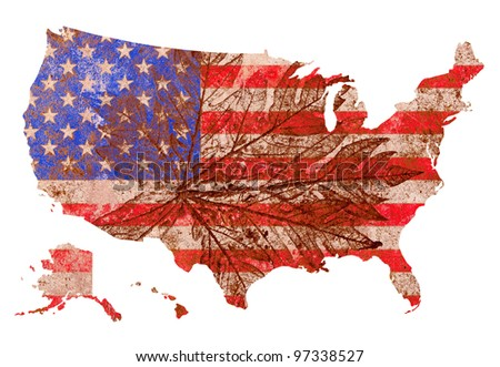 grunge old pale bevel and emboss United States of America flag shaped as map with leaf pattern  background created by computer graphic - stock photo