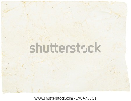 grunge old paper isolated on a white - stock photo