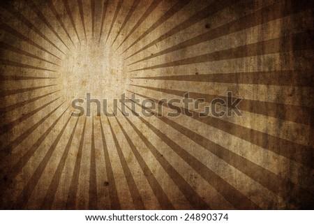 grunge old paper texture background with radial sunburst rays - landscape orientation - stock photo