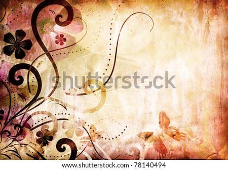 grunge old paper texture with floral pattern - stock photo