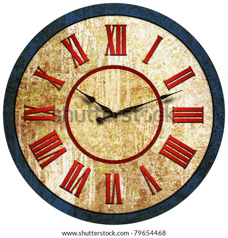 Grunge old rusty vintage Clock made from steel - stock photo