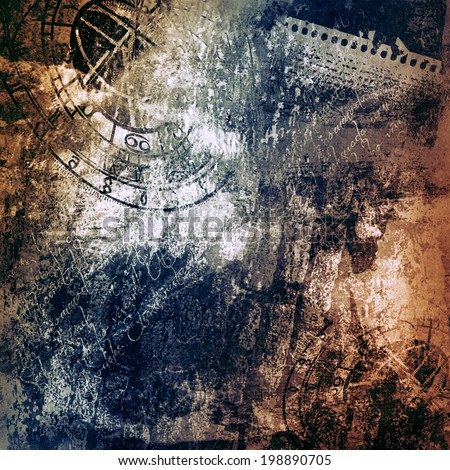 grunge old times distressed surface with motives of ancient clock, parchment and scripts, background - stock photo
