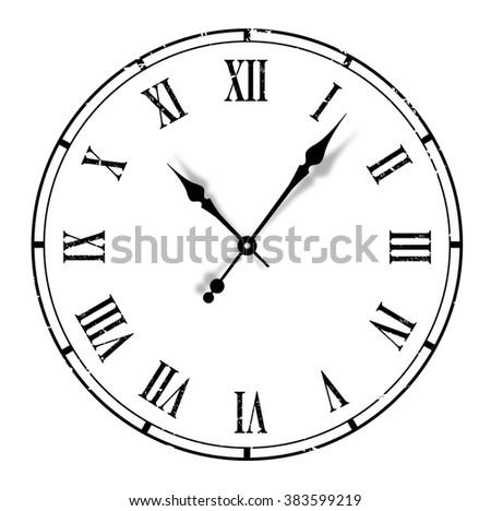 Grunge old vintage clock white background - stock photo
