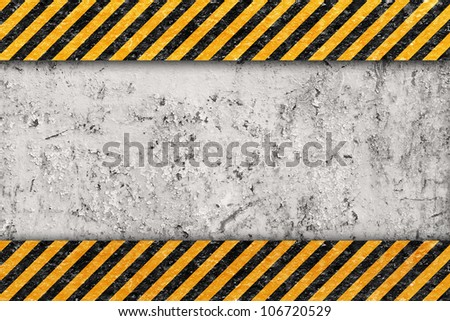 Grunge Orange Pattern with Warning Stripe, Old Metal Textured