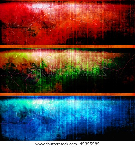 Grunge Paint Banner Set - stock photo