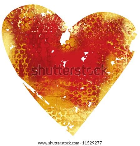 Grunge painted heart - stock photo