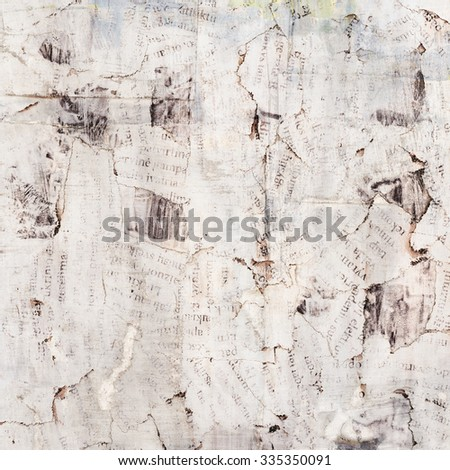 Grunge painted torn paper collage, cracked, scratched background - stock photo