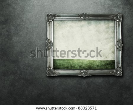 Grunge painting at the concrete wall with clipping path for the inside - stock photo