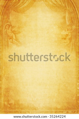 grunge paper background with angels - stock photo