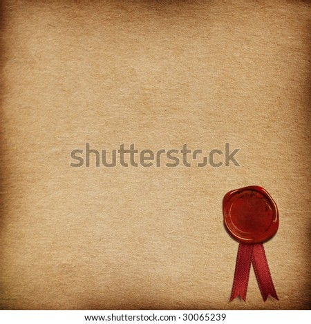 grunge paper background with sealing wax - stock photo