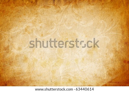 Grunge paper background with textured vintage ornaments - stock photo