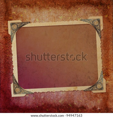 Grunge paper design for information in scrap-booking style - stock photo