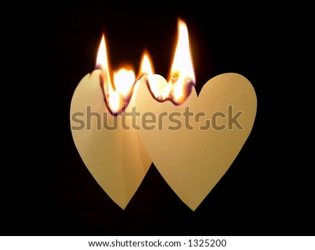 Grunge Paper Hearts On Fire - stock photo