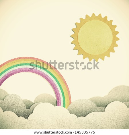 Grunge paper texture moon and rainbow on vintage tone  background - stock photo