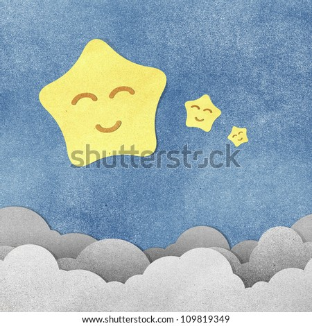 Grunge paper texture star in the night - stock photo
