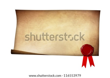 Grunge paper with wax seal and ribbon isolated on white background - stock photo