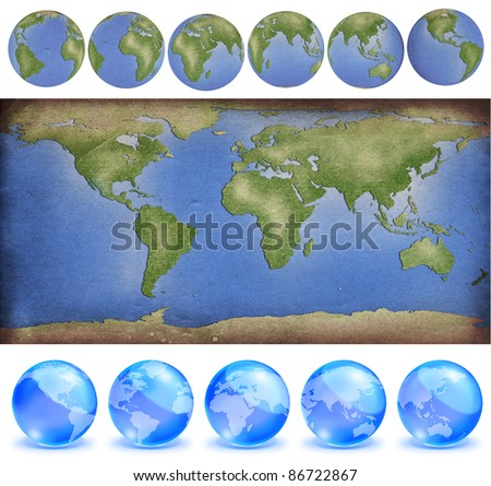 grunge paper world map with earth globes in paper style and crystal style - stock photo