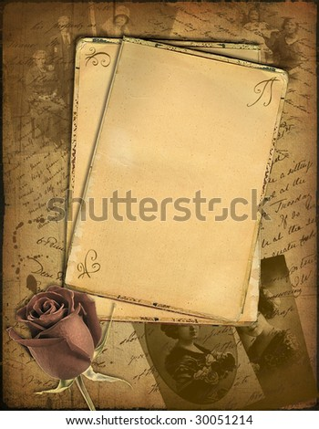 Grunge papers design in scrap booking style with the hand-written text and a rose