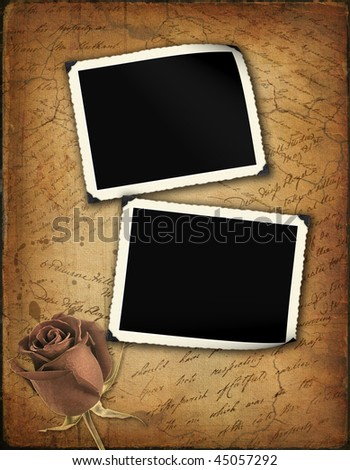 Grunge papers design in scrap booking style with the hand-written text and retro framework for photo - stock photo