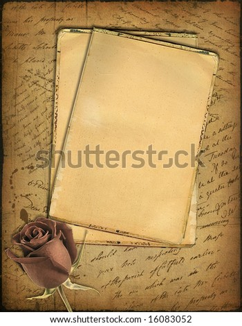 Grunge papers design in scrap-bookingstyle with the hand-written text and a rose