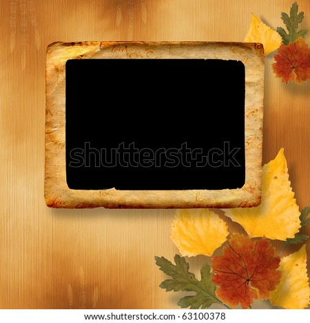 Grunge papers design in scrapbooking style with frame and autumn foliage - stock photo