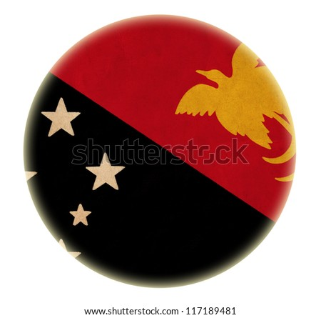 grunge Papua New Guinea flag drawing button - stock photo