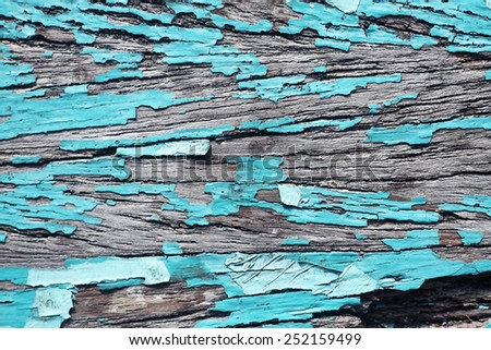 grunge peeling painted wooden panel - stock photo