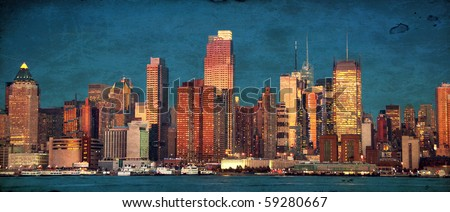 grunge photo beautiful new york cityscape over the hudson - stock photo